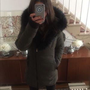 Express olive puffer coat